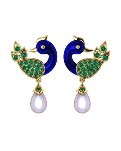 155DH3060 | Vaibhav Jewellers 18K Gold Peacock Drops 155DH3060