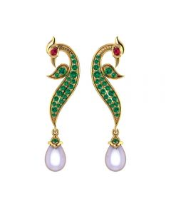 155DH3061 | Vaibhav Jewellers 18K Gold Peacock Drops 155DH3061