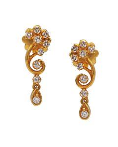 155G2626 | Swirly flower Diamond Earrings