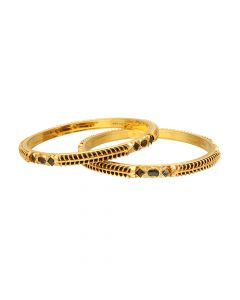 16H282 | 22Kt Gold Fancy 2 set Black Beed Broad Bangles 16H282