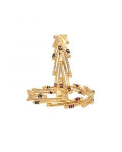 16MP3216 | 22k Plain Gold Fancy Bangles 16MP3216