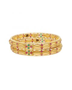 16VI9278 | 22k Plain Gold Fancy Bangles 16VI9278