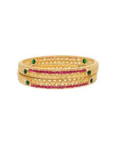 16VI9461 | 22k Plain Gold Fancy Bangles 16VI9461