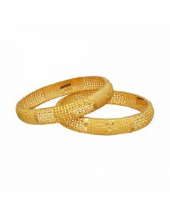 16VJ7789 | Vaibhav Jewellers 22K Plain Gold Fancy Broad 2 Set Bangles 16VJ7789