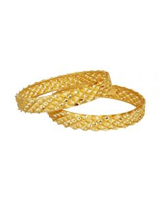 16VJ8809 | Vaibhav Jewellers 22K Plain Gold Fancy 2 Set Broad Bangles16VJ8809