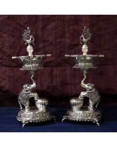368VA5346-47 | Antique Silver Diya Sets 368VA5346
