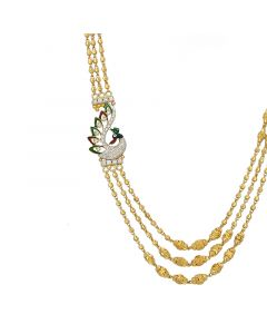 3VH519 | 22k Plain 3 Step Ball Chain Necklace 3VH519