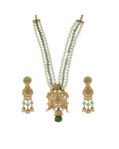 451VG1382 | 22Kt Polki Gold Necklace Set  451VG1382