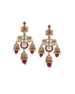 451VG1418 | Vaibhav Jewellers 22K Gold Polki Hanging Earrings 451VG1418
