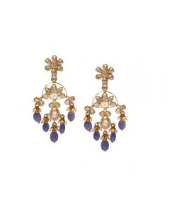 451VG1422 | Vaibhav Jewellers 22K Gold Polki Hanging Earrings 451VG1422