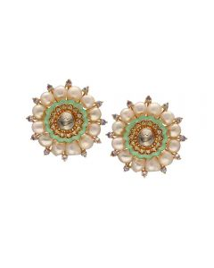 465VG126 | Vaibhav Jewellers 18K Gold Pachi Hanging Earrings 465VG126