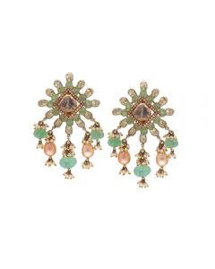 465VG204 | Vaibhav Jewellers 18K Gold Polki Hanging Earrings 465VG204
