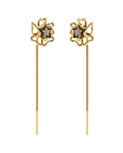 485DA412 | Vaibhav Jewellers 14K Gold Floral Suidhaga Earrings 485DA412