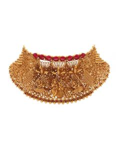 556VA182 | Vaibhav Jewellers 22K Antique Gold Choker Necklace 556VA182