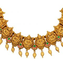 556VA89 | 22 KT Antique Gold Nakkashi Temple Necklace 556VA89