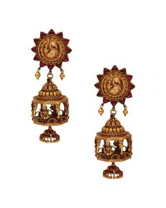 559VA223 | Vaibhav Jewellers 22K Temple Hanging Earrings 559VA223