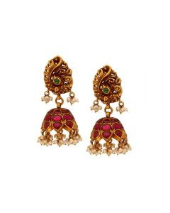 559VA255 | Vaibhav Jewellers 22k Antique Temple Jhumkies 559VA255