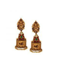 559VA79 | 22Kt Gold Temple Lakshmi Jhunkies  559VA79