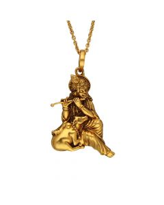 561VA183 | Sri Krishna Antique Gold Pendant  561VA183