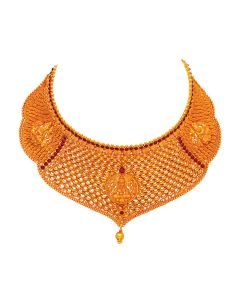 vbj-a-68a | Antique Sturdy Jaali Gold Choker with Ruby Reds