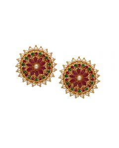 73VH705 | Vaibhav Jewellers 22K Gold Ruby Emerald Stud Earrings 73VH705