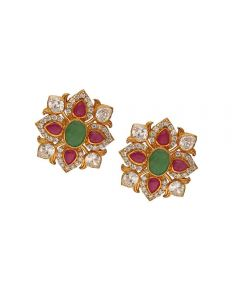 75VG496 | Vaibhav Jewellers 22K Ruby Emerald Cz Stud Earrings 75VG496