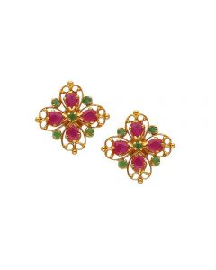 75VG513 | Vaibhav Jewellers 22K Gold Ruby Emerald Stud Earrings  75VG513