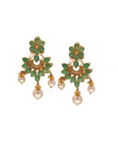 76VG3530 | Vaibhav Jewellers 22K Gold Precious Emerald Hanging Earrings 76VG3530
