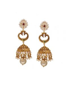 76VG3565 | 22K Gold Pachi work Hangings Earrings