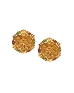 77VI170 | Vaibhav Jewellers 22K Plain Gold Rhodium Stud Earrings 77VI170