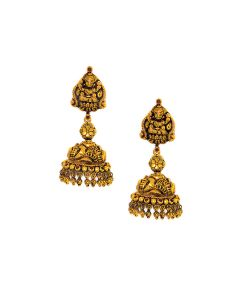 vbj-a-96f | 22K Antique Temple Dome Gold Jhumkis