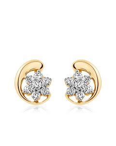 JES02960H | Moon and Flower Diamond Studs Earring