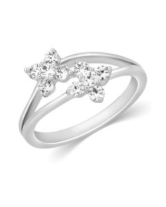 JRA17160H | Twin Blooms Diamond Ring