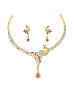 VBJ-PNK-1268 | Peacock Cz Gold Necklace Set