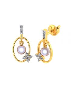 VE-792 | Vaibhav Jewellers 18k Yellow Gold and American Diamond Drop Earrings for Women VE-792