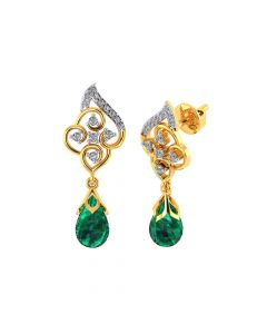 VE-815 | Vaibhav Jewellers 18k Yellow Gold and American Diamond Drop Earrings for Women VE-815