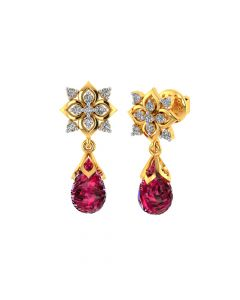 VE-817 | Vaibhav Jewellers 18k Yellow Gold and American Diamond Drop Earrings for Women VE-817