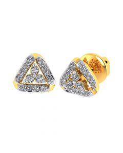 VE-824 | Vaibhav Jewellers 18k Yellow Gold and American Diamond Stud Earrings for Women VE-824