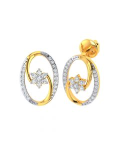 VE-834 | Vaibhav Jewellers 18k Yellow Gold and American Diamond Stud Earrings for Women VE-834