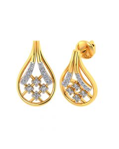 VE-835 | Vaibhav Jewellers 18k Yellow Gold and American Diamond Stud Earrings for Women VE-835