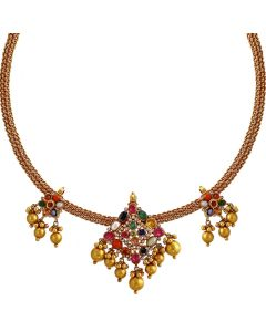 201VA1236 | Graceful Navaratna Gold Necklace