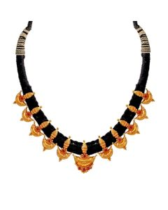123VG2515 | Radiant Black Thread Gold Necklace