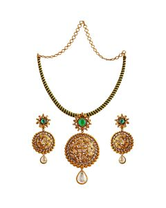 123VG3123 | Emerald Flower Gold Necklace Set