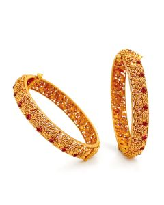 125VG564 | Clustered Wheat Grain Gold Bangles