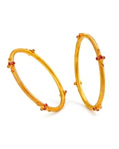 125VG565 | Sophisticated Ruby Gold Bangles