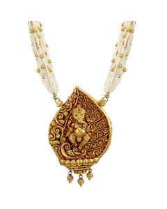 127VG3351 | Pearl Cluster Ganesha Antique Gold Necklace