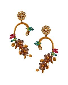 135VG2683 | Vibrant Polki Vine Gold Earrings