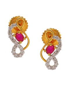 155G3020 | Twisted Ruby Diamond Studs Earring