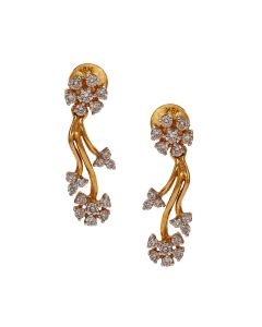 155VG5649 | Vine Flower Diamond Earrings