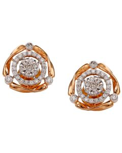 155VG6632 | Rose Charm Gold Diamond Earrings